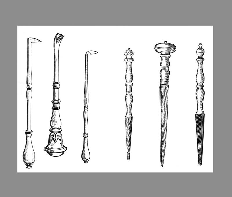 Ilustração de 1575, mostram diferentes tipos de ferramentas utilizadas na época.